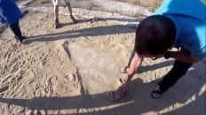 Sous une fine couche de sable, de très belles mosaïques.