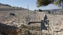 Le cimetière juif s'étage sur le mont des Oliviers, face à Jérusalem
